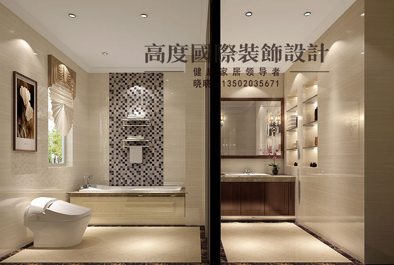 简欧 别墅 商业精英 卫生间图片来自大小姐在中惠团泊湾的分享