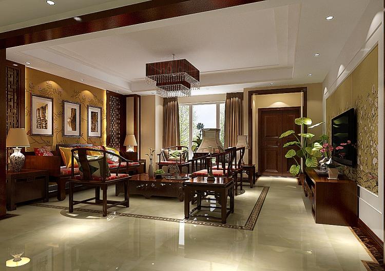 8哩岛 中式 高度国际 简约 现代 别墅 白领 80后 小资 客厅图片来自北京高度国际装饰设计在8哩岛280平中式别墅的分享