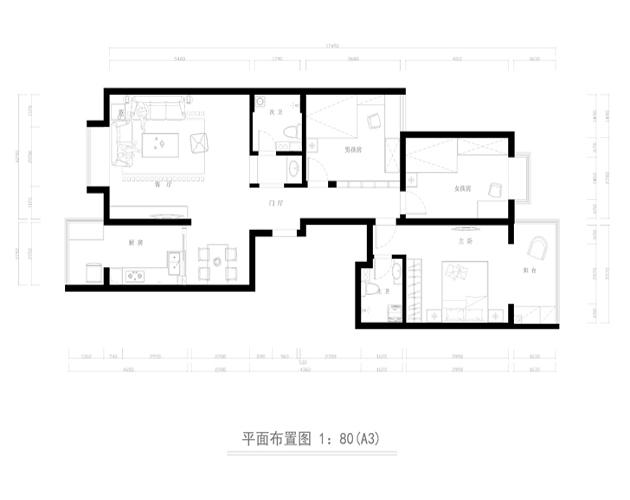 简约 三居 白领 户型图图片来自业之峰太原分公司在宁静居所的分享