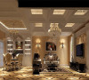 餐厅效果图:个性造型吊顶设计、欧式风格的桌椅摆放再加上以白色酒柜使整个房间简单、温馨!沙发和电视的摆放既可以作为人们饭后休憩的之地。