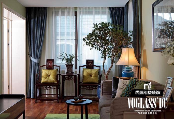 别墅 白领 中式 客厅图片来自北京别墅装修案例在中式风格与鸟语花香的分享