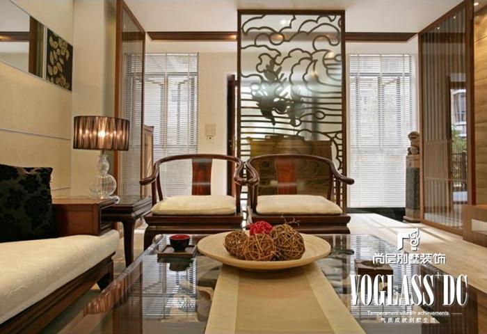别墅 新中式 客厅 卧室 客厅图片来自北京别墅装修案例在古典与现代的完美结合的分享