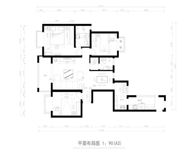 简约 三居 户型图图片来自业之峰太原分公司在爱美之家的分享
