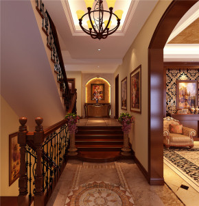 欧式 别墅 美观 豪华档次 舒适 温馨 楼梯图片来自北京高度装饰设计王鹏程在丹麦小镇377平米欧式古典风格的分享
