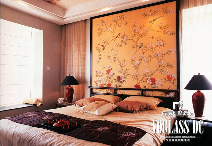 别墅 新中式 客厅 卧室 卧室图片来自北京别墅装修案例在古典与现代的完美结合的分享