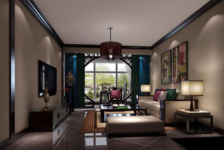 客厅图片来自北京高度国际装饰设计在中景江山赋新中式公寓的分享