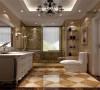 卫生间最主要以白色和黄色为主要色系。白色梳妆台再加上花纹色的地砖给人舒适温暖的感觉。