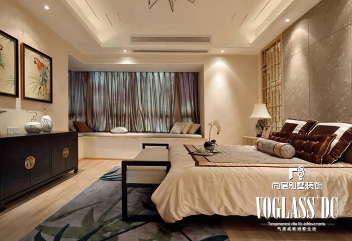 别墅 新中式 白领 卧室 卧室图片来自北京别墅装修案例在不一样的新中式的分享