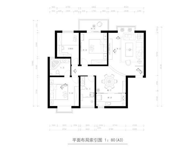 欧式 三居 白领 户型图图片来自业之峰太原分公司在低调奢华欧式的分享