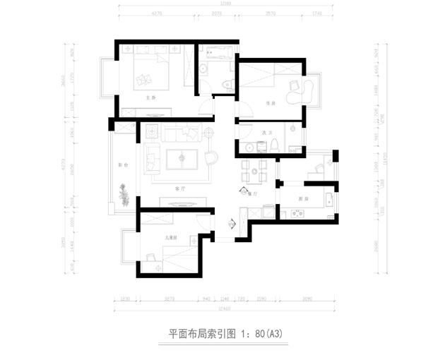 简约 三居 户型图图片来自业之峰太原分公司在简约绿地世纪城的分享