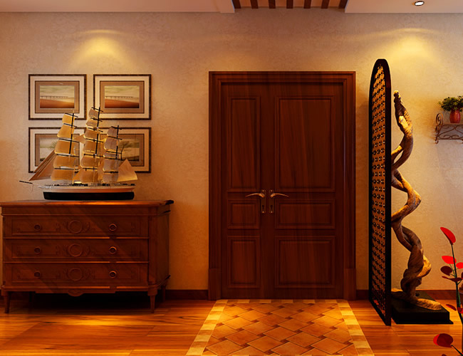 美式 二居 玄关图片来自北京世家装饰工程有限公司在盛和世纪美式的分享