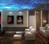 地下影音室,体现了现代生活快节奏、简约和实用,但又富有朝气的生活气。在色彩上,采用柔和的中性色彩,给人优雅温馨、自然脱俗的感觉。在材质上,运用暖色墙漆等,将传统风韵与现代舒适感完美地融合在一起。