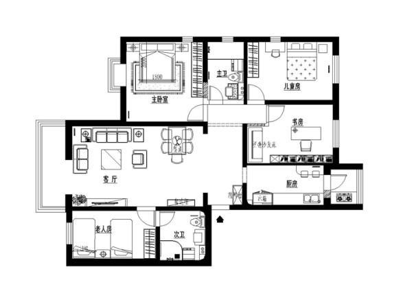 新中式风格装修-京铁和园150平米三居