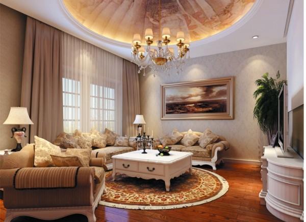 影音室可以让全家人在一起娱乐放松心情,让家人之间的感情更加亲密,圆形的地毯与顶面的拱形造型相互呼应,让人有种想坐在一起的感觉