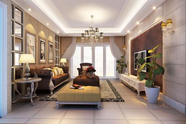 客厅: 少了富丽堂皇的装饰盒浓烈的色彩,呈现的则是一片清新,典雅和大气并存的轻松空间。咖色的电视背景墙,明亮素实的窗帘,和古典色彩的地毯相呼应。