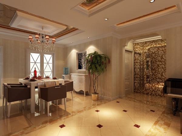 餐厅:此区域主要的设计要素在于吊顶,以茶色镜面局部造型,十分符合奢华的基本要素。