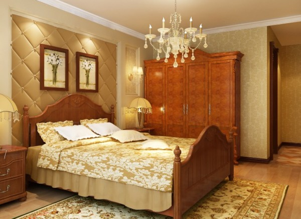 空间的色彩多为暖色调,床头的软包,为卧室更增添舒适感。床头壁灯的灯光下,更显温馨。