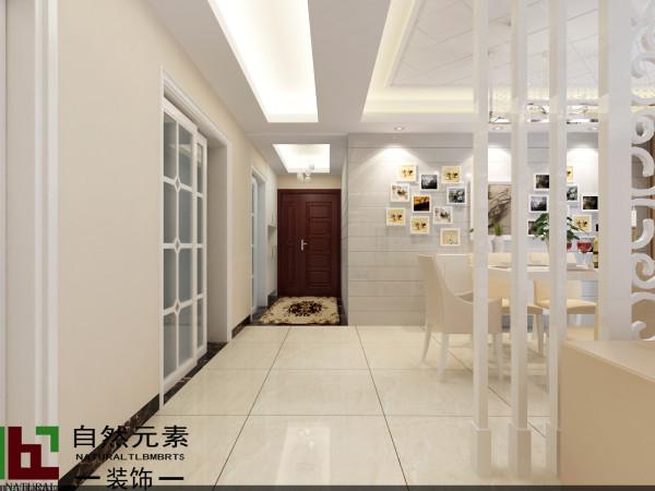 餐厅对应的推拉门进入厨房,玄关处个性的拼花地砖,天花吊顶和客餐厅吊顶的高矮,更有层次感。