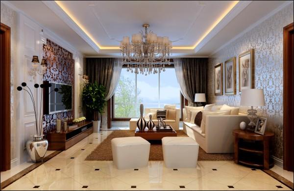 客厅:地面采用大理石进行拼装,顶面配以的造型吊顶,从而使空间富有层次,体现大气和现代的装饰效果。