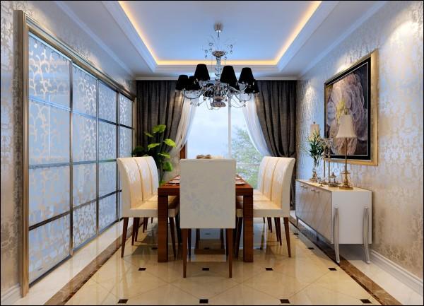 餐厅:地面石材客厅地面形成一个整体。通过顶面的造型吊顶划分出不同的使用空间。厨房门进行改动,加大门的宽度,使餐厅与厨房空间相容共用。