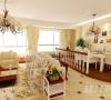 客厅与餐厅间采用走廊式的设计,田园风格的碎花和条纹布艺沙发,随处摆放的鲜花、绿植,让整个房间显得温馨而唯美。