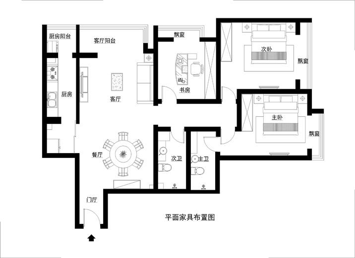 简约 三居 收纳 白领 80后 小资 现代简约 舒适和谐 简单明快 户型图图片来自北京实创装饰石头在碧桂园小区现代简约三居室的分享