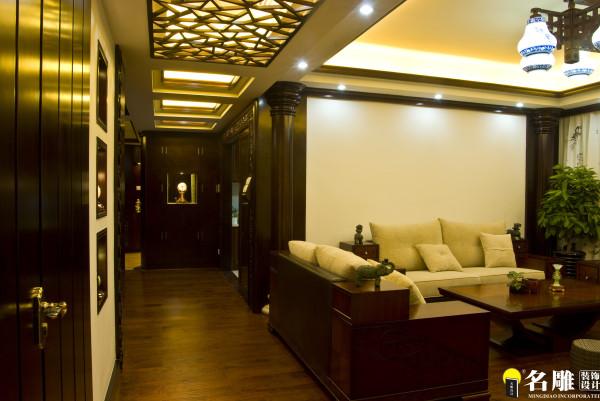 名雕装饰设计-东方尊峪三居-现代中式客厅沙发背景