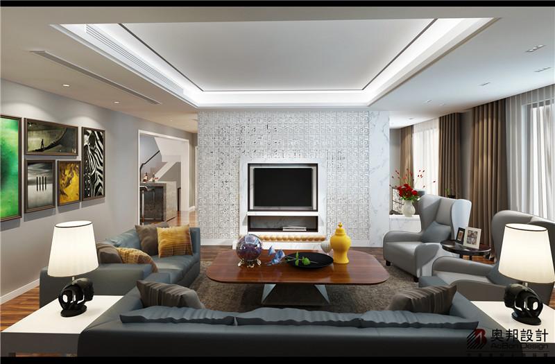 简约 别墅 客厅图片来自上海奥邦装饰在象屿鼎城别墅户型现代简约风的分享