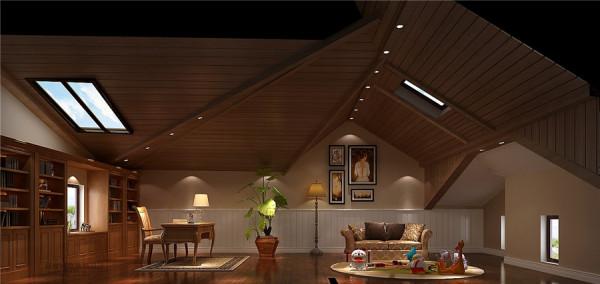 阁楼效果图:阁楼的房顶设置及独特具有艺术气息,平时还可以作为书房或孩子娱乐场所。