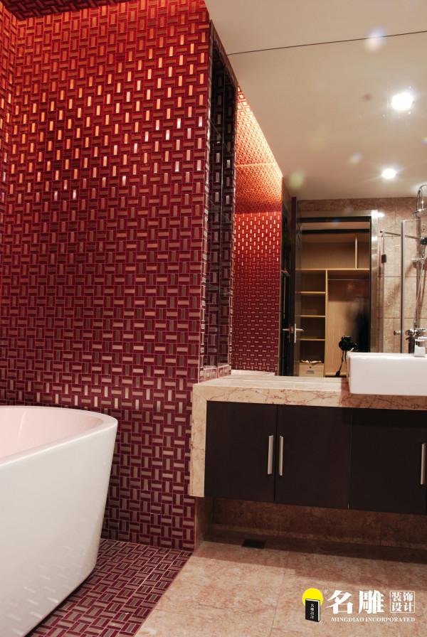 名雕装饰设计-纯水岸三居室文艺雅居-卫生间洗浴盆