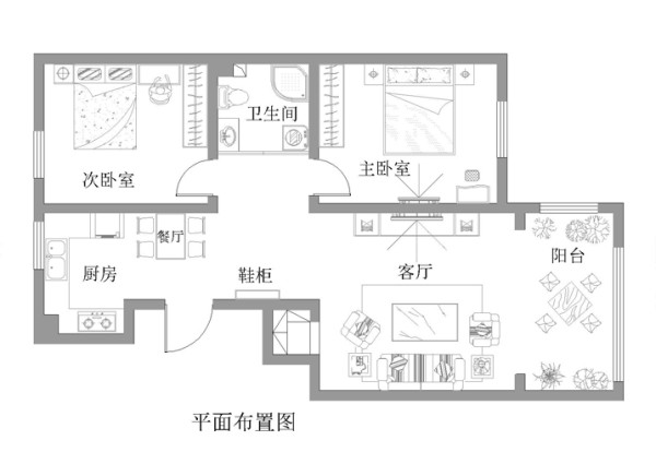 96平米简约浪漫婚房