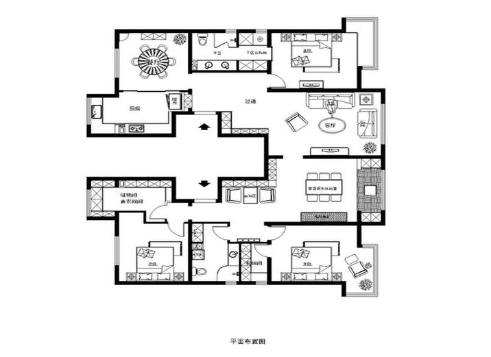 欧式 混搭 三居 白领 80后 小资 收纳 户型图图片来自shichuangyizu在巩华新村200平打造简欧,三居室的分享