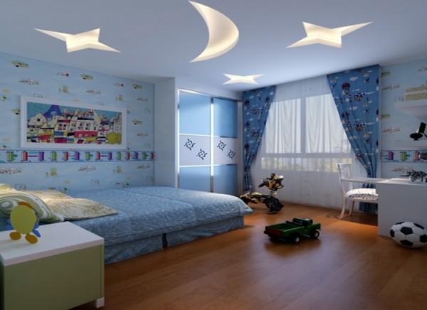 清新亮丽的淡蓝色营造了儿童天真活泼的氛围。 亮点:儿童房顶面的星星,月亮的造型顶,使整个空间活泼可爱。