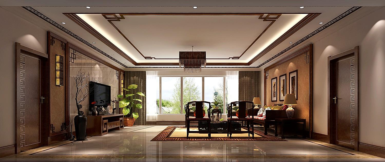 客厅图片来自专业别墅设计工作室在新中式风格装修的分享