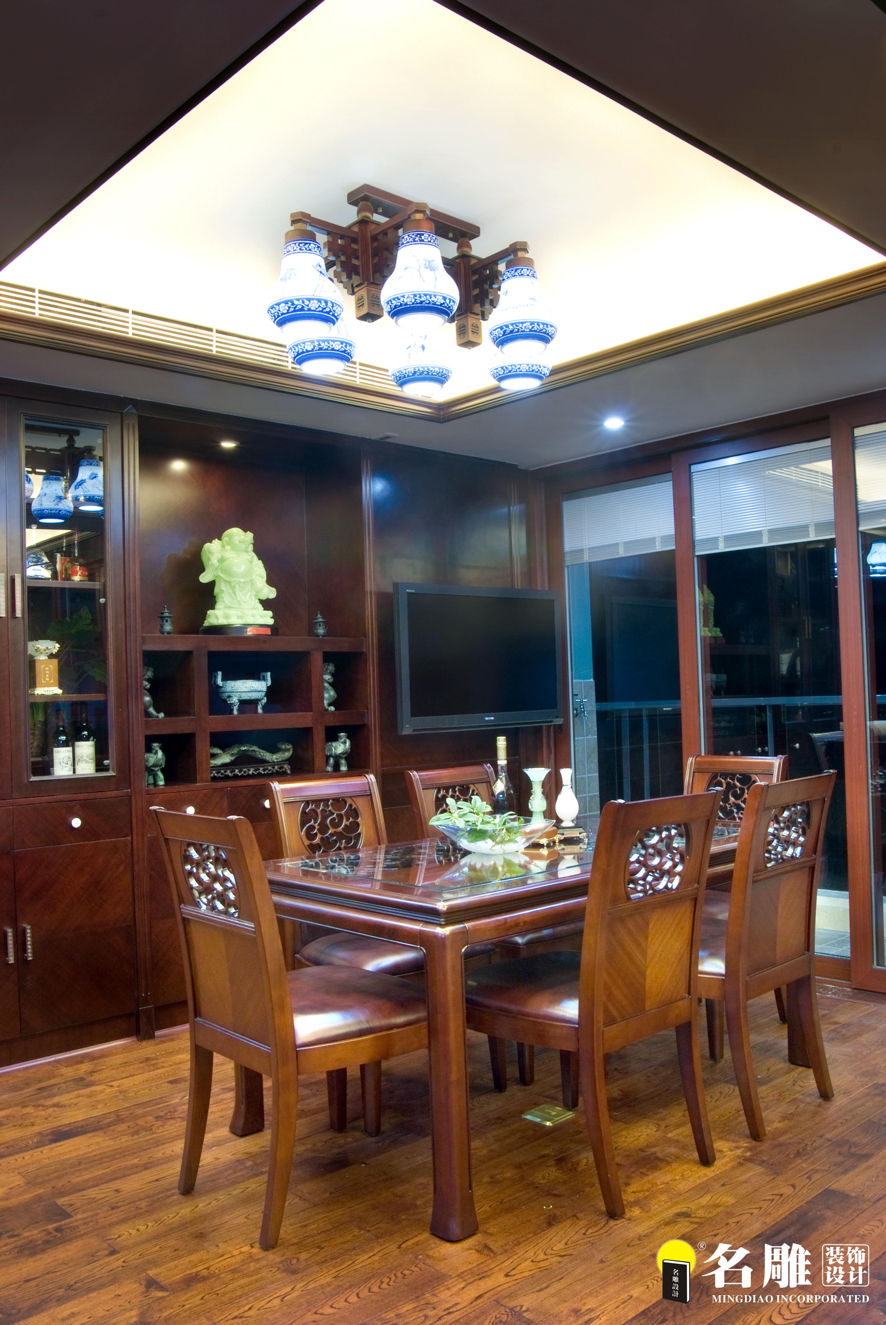 二居 中式 文艺青年 东方韵味 名雕装饰 餐厅图片来自名雕装饰设计在中式风格-135平二居室雅居装修的分享