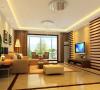 客厅以宁静淡雅的文人情趣为主色调,算然没有繁华装饰,但是以木格做为电视背景墙,顶面装饰灯带,再加上以现代家具的有序摆放,使整个空间气氛得到升华。