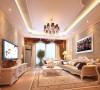 客厅以华丽唯美的石膏线装饰,典雅的沙发和精致的电视柜给人一种完美的法式浪漫风情的享受。