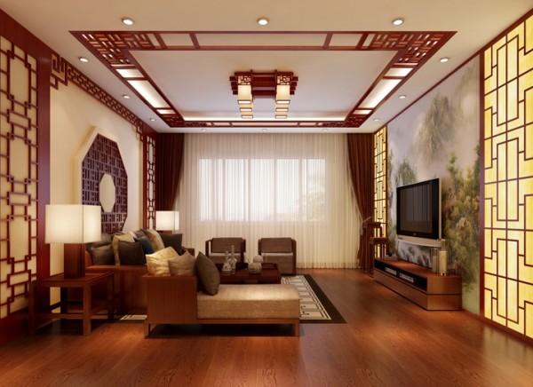 电视墙的山水画,沙发背景的古钱实木线装饰,寓意十足。亮点:背靠古钱,寓意十足。