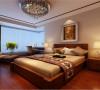 东南亚风格的床头和现代风格的台灯让空间不失浪漫,而是别有一番韵味。在配以各种水晶配饰、绿色植物更加显得业主低调内敛。