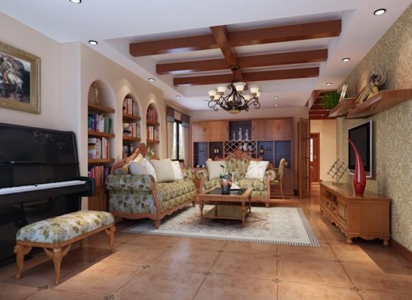 回归自然设计理念:美式的小碎花布艺沙发和具有特点的拱形装饰墙,大木梁吊顶,让人回归自然。亮点:整个色彩搭配的淋漓尽致。