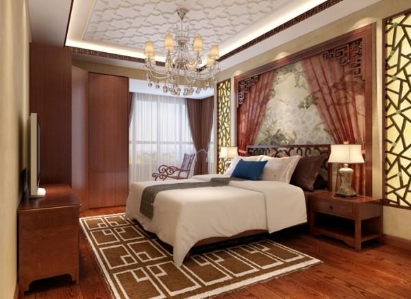 卧室是休息的场所,不需要过多的装饰,床头背景足以起到画龙点睛的效果。亮点:床头的莎幔和落地窗的白色纱帘,中国风也有浪漫之处。