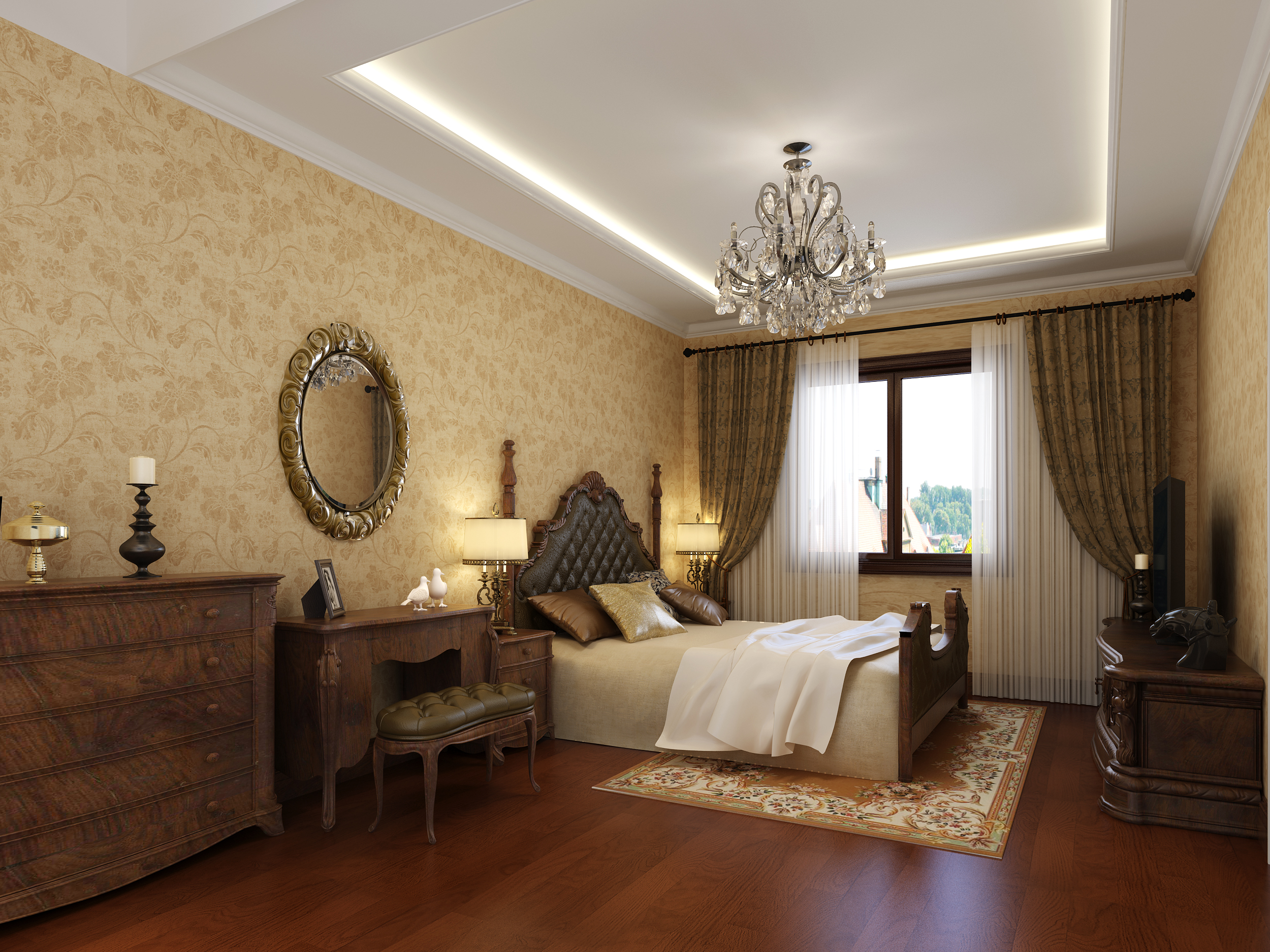 欧式 别墅 白领 旧房改造 80后 小资 卧室图片来自实创装饰百灵在精致别墅220欧式风格孔雀城的分享