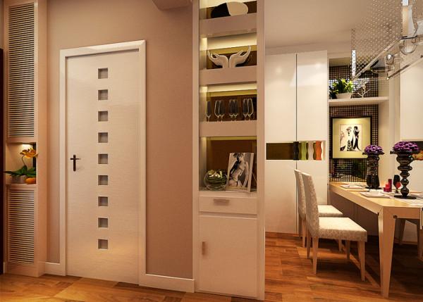 由于业主需要的大量的储物空间,于是做了大区域的衣柜,衣柜的侧板为了美观,做了既有展和你储存杂物的展示架。