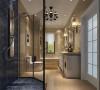 卫生间效果图:此房间设计将浴室隔离出去既美观实用又保证卫生间洁净。