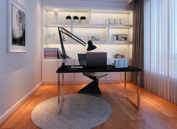 整个书房以黑白灰三色为主调,简约而不简单,时尚低调亮点:书柜简洁大方又很实用,颜色与书桌相互呼应。