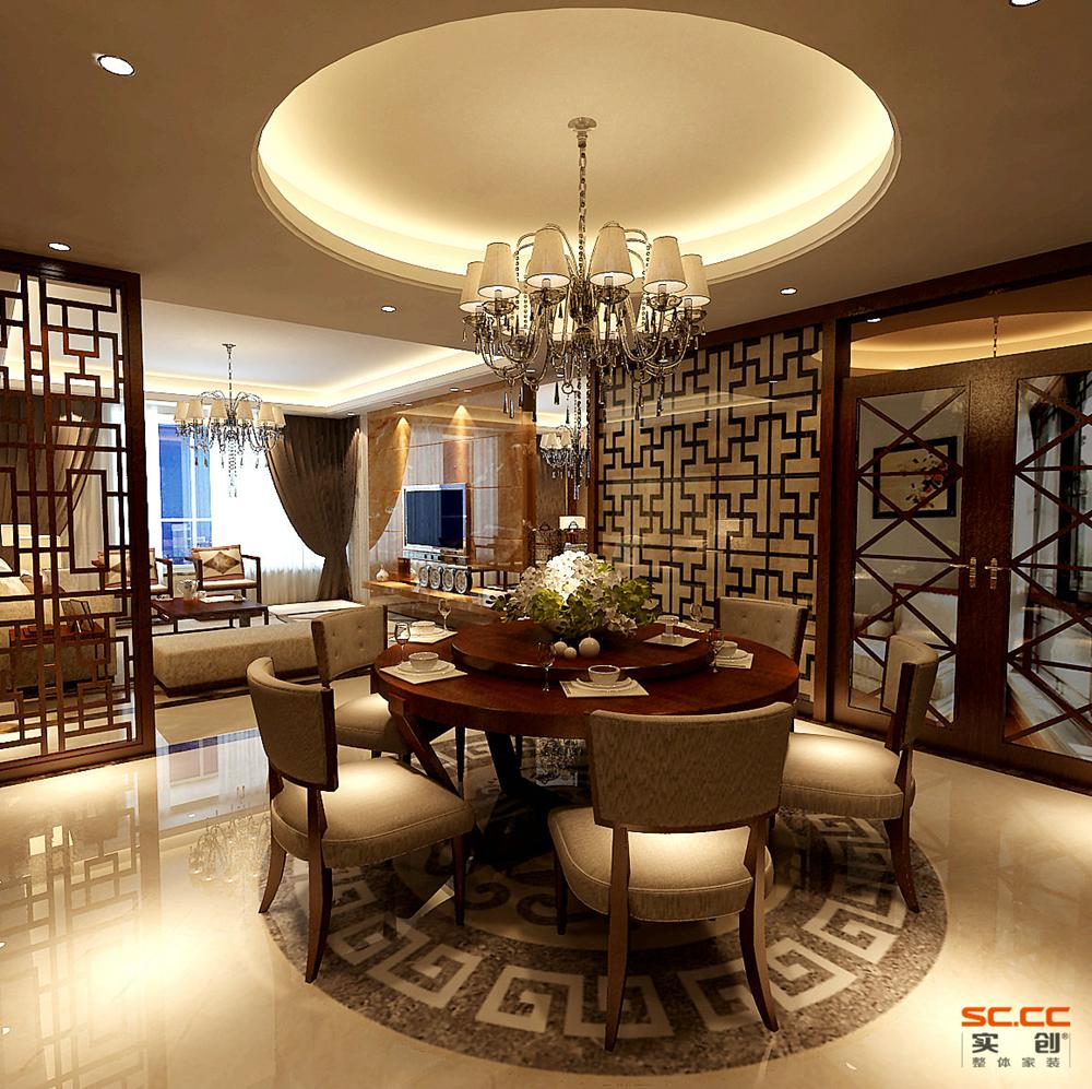 中式 三居 收纳 创意 餐厅图片来自成都实创装饰在中德G户型唯美古韵中式风的分享