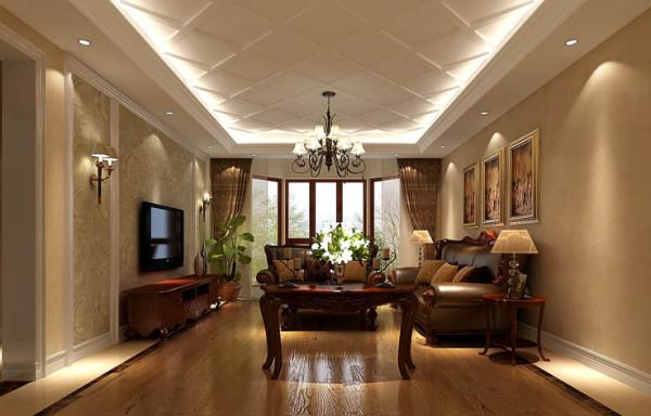 客厅的地面与顶面相呼应,地面选用木地板与大理石的结合,使地面的层次感更强。顶面选用石膏板漏缝的设计,因为房高不是特别高,这样给人在心理上有顶面的延伸感。