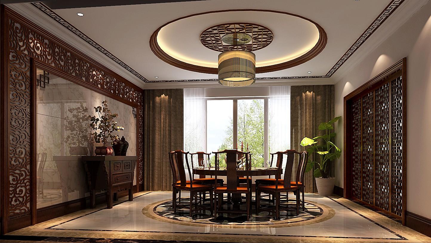 餐厅图片来自专业别墅设计工作室在新中式风格装修的分享