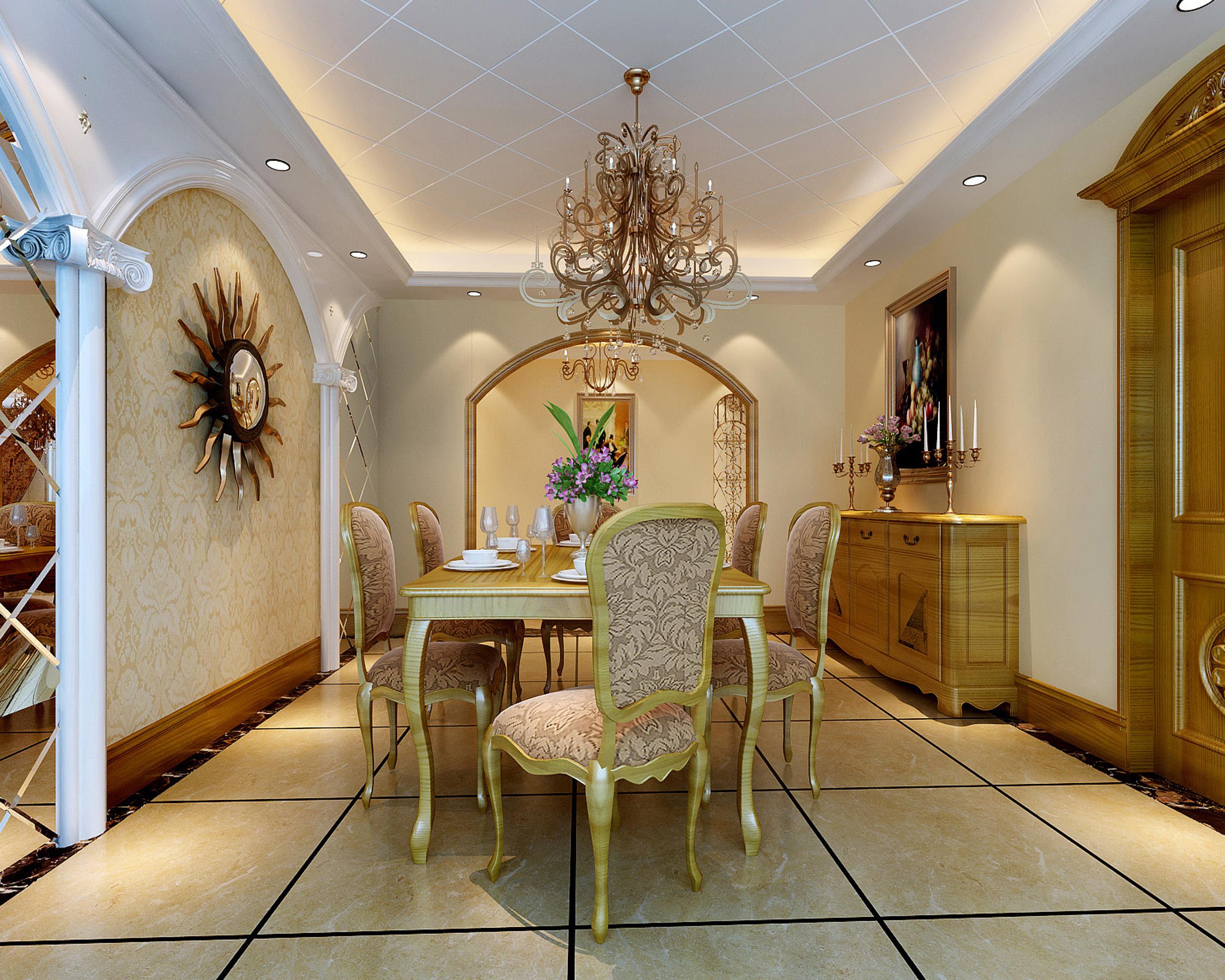 欧式 三居 白领 收纳 80后 小资 餐厅图片来自实创装饰百灵在115平时尚温馨欧式风格三居室的分享