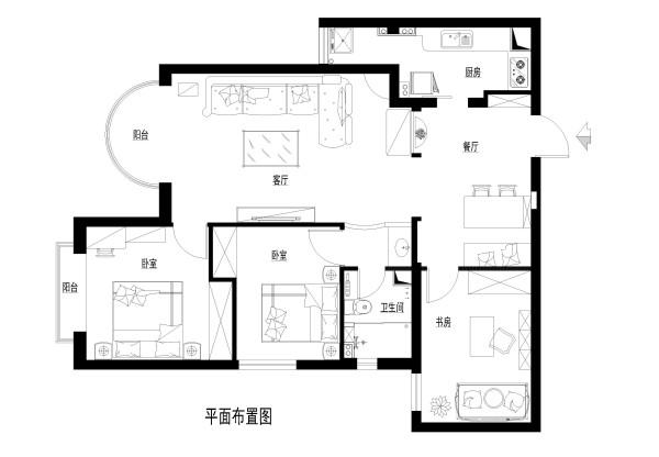 三环新城小区120平米平面布置图